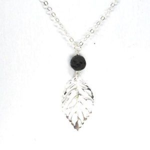 LAVA Stone and Hollow Leaf Aromatherapy Necklace